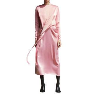 Celine Blush Pink Silk Satin Wrap Dress