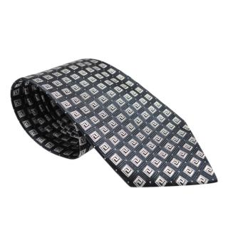 Versace Men's Black & Silver Printed Silk Tie