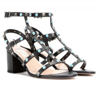Valentino Black Rockstud Rolling Leather Sandals