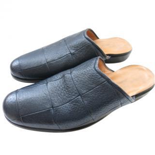 Silviano Lattanzi Leather Navy Slippers