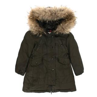 Moncler kids padded fox fur trim jacket