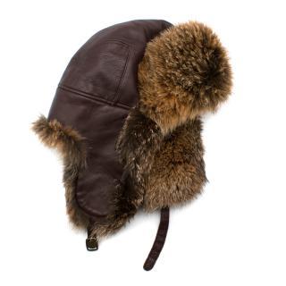 Loro Piana Leather & Fur Aviator Hat