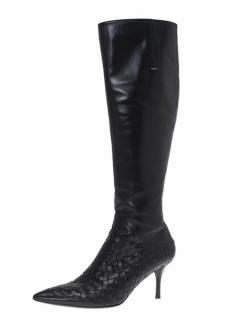 Bottega Veneta Leather Intrecciato Knee High Boots