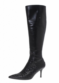 Bottega Veneta Leather Intrecciato Knee High Boots
