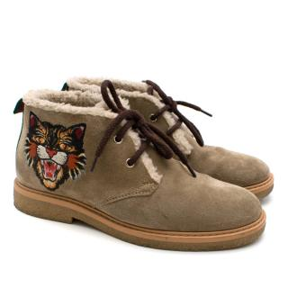 Gucci Children's high-top suede embroidered boots