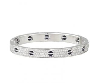 Cartier Ceramic Diamond Paved 18k White Gold Love Bracelet - Size 18