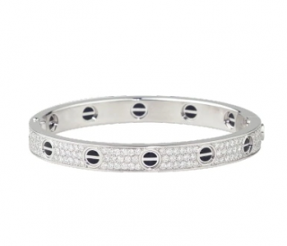 Cartier Ceramic Diamond Paved 18k White Gold Love Bracelet - Size 18