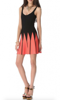 Herve Leger Coral & Black Flared Mini Dress