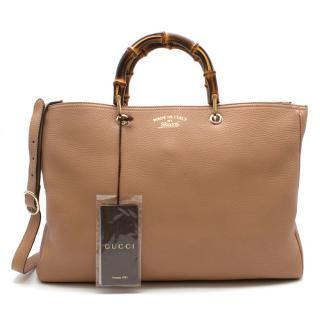 Gucci Camel Bamboo Large Shopper Tote