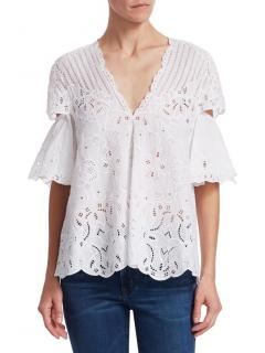 Jonathan Simkhai Embroidered Cut Out Top