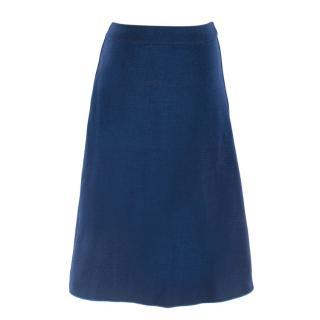 M by Missoni blue metallic knit a-line skirt