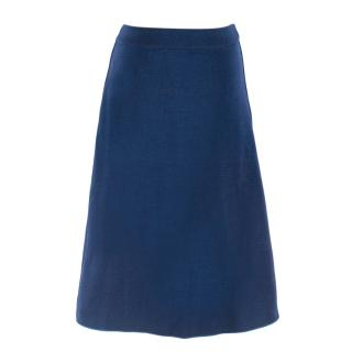 M by Missoni blue metallic knit a-line skirt
