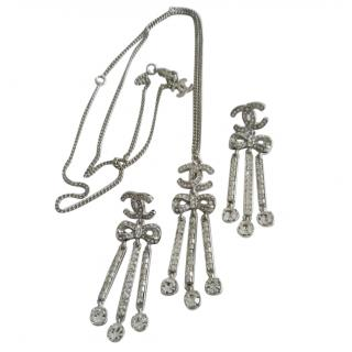 Chanel Crystal Embellished CC Bow Drop Earrings & Necklace