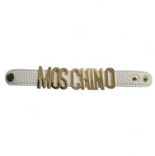 Moschino White Logo Cuff Bracelet