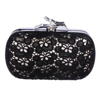 Diane Von Furstenberg Black Lace Clutch