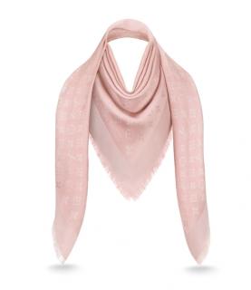 Louis Vuitton Pink Silk & Wool Blend Monogram Shine Shawl
