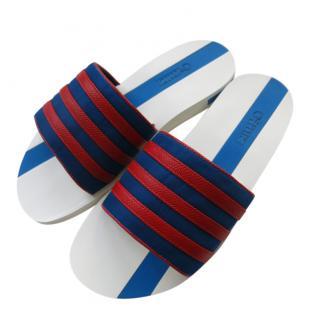 Zilli Men's Blue & Red Striped Slides