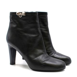 Hermes Black Calfskin Leather Ankle Boots