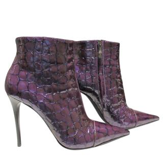 Gianmarco Lorenzi Croc Embossed Purple Patent Ankle Boots