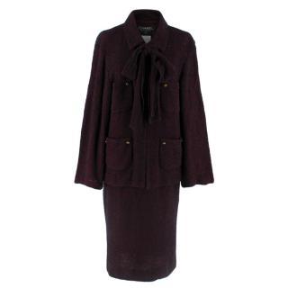 Chanel Vintage Burgundy Tweed Suit