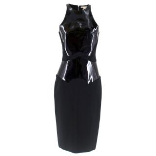 Antonio Berardi Black Vinyl Panelled Fitted Dress