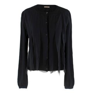Bottega Veneta Black Cashmere Lace Trim Cardigan