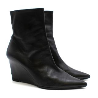 Balenciaga Leather Wedge Ankle Boots