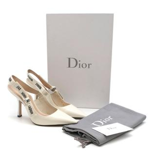 Dior J'Adior White Patent Slingback Pumps