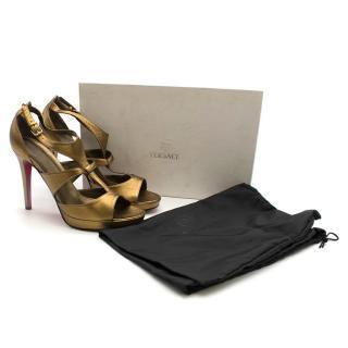Versace Gold Metallic Leather Sandals