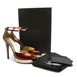 Gucci Metallic Red Platform Sandals