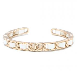 Chanel White Braided Leather Open Bracelet