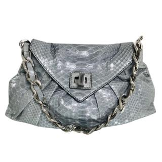 Zagliani Grey Python Shoulder Bag