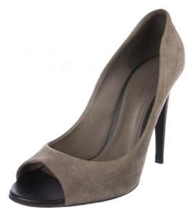 Bottega Veneta grey suede peep-toe pumps
