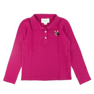 Gucci children's long sleeve embroidered polo shirt