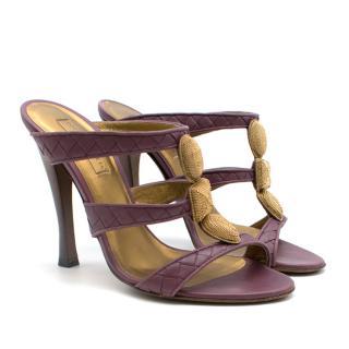Bottega Veneta Lilac Gold Chain Jewel Embellished Mules