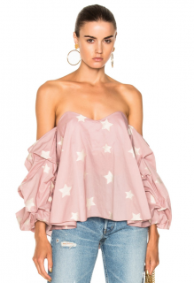 Caroline Constas Gabriella Off Shoulder Shimmer Star Blouse in Pink