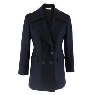 Celine Double Breasted Wool Navy Coat