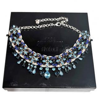 Shourouk Blue Crystal Collar Necklace