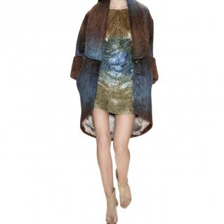 Matthew Williamson Blue & Gold Sequin Mini Dress