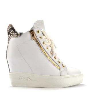 Ash Atomic White Leather Wedge Trainer.