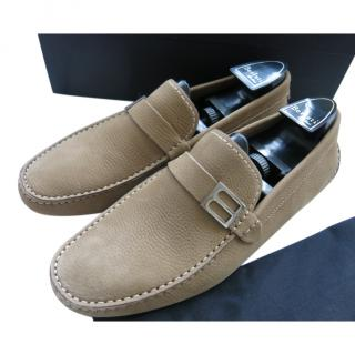 Berluti Beige Grained Leather Moccasins