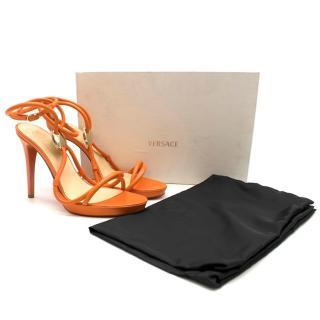 Versace Nappa Leather Orange Sandals