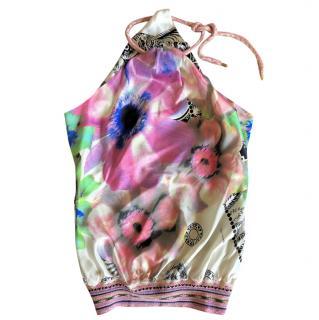 Class Cavalli Silk Floral Halterneck Top