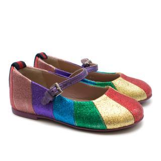 Gucci Rainbow Glitter Ballet Flats