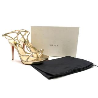 Versace Gold Corded Leather Sandals