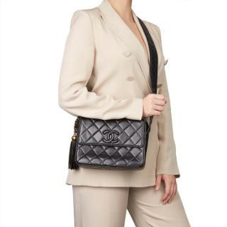 Chanel Vintage Leather Fringe CC Shoulder Bag