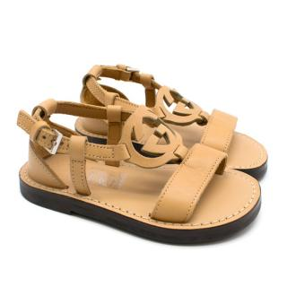 Gucci Kid's 20 GG Nude Leather Sandals