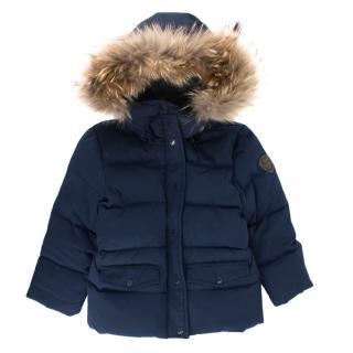 Bonpoint Kids Blue Fur Trim Puffer Jacket
