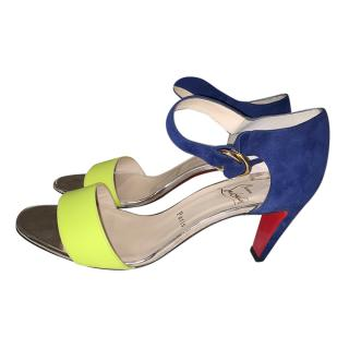 Christian Louboutin Blue Suede & Patent Fluo Sandals