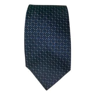 Gucci Blue Silk Embroidered Tie